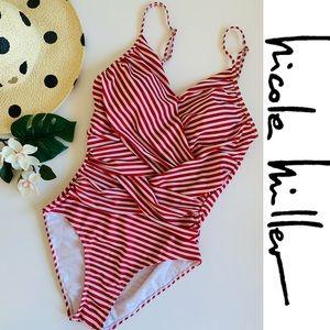 Nicole Miller Crisscross Stripe Red White Swimsuit